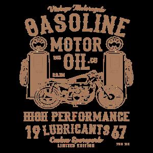 Vintage Motorrad Benzin Motoröl Custom Motor