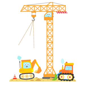 Baustelle Kinder 4. Geburtstag Kran Bagger 4 Jahre