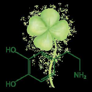 Strukturformel Dopamin mit Kleeblatt