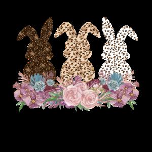 Lustige Osterhase mit Leopard Print Blumen Ostern