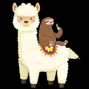 Faultier sitzt auf Lama Lustiges Faultier Geschenk