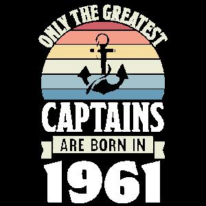 Boating Captain geboren 1961 Geburtstag Geschenk Segeln