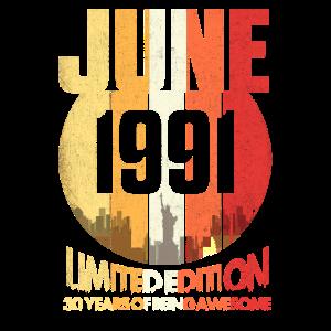 Vintage Juni1991 lustig 30. Geburtstag 30 Jahre al