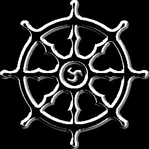 Dharmachakra Dharma-Rad Weiß 3D Effekt