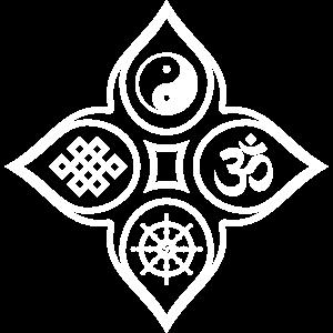 Lotusblüten mit Om Yin Yang Knoten und Dharma Rad