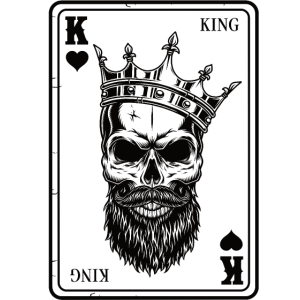 King And Queen Skull - 2/2 Card Hearts Flush