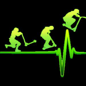 Stunt Scooter EKG Herzschlag Tretroller Geschenk