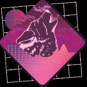Heulender Wolf mit futuristischem Design