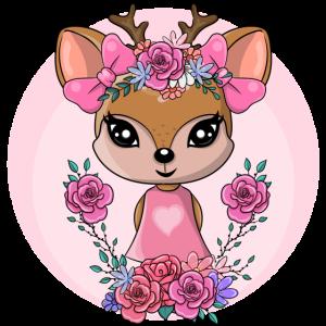 Reh Baby Reh Deer Comic Fun Heart Blumen Flowers