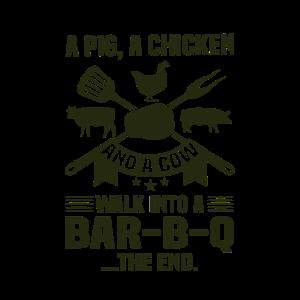 BBQ Humor Geschenk Schwein Huhn Kuh Wank in Bar B Q.