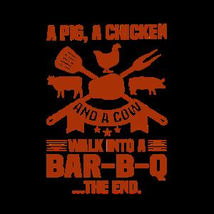 BBQ Humor Geschenke Schwein Huhn Kuh Wank in Bar B Q