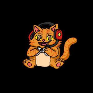 Katze Zocker Gaming Headset witzig Konsole