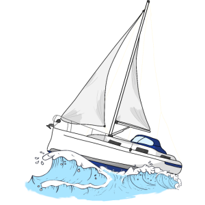 Segelboot Segelschiff auf Wellen Segelboot Fahrer