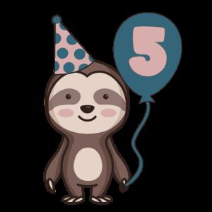 5. Geburtstag 5 Jahre alt Faultier