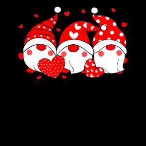 Drei Zwerge halten Herzen Valentinstag Design