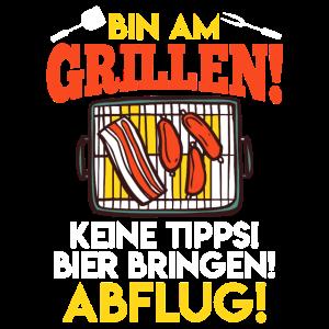 Grill Spruch bin Grillen Bier bringen Geschenk