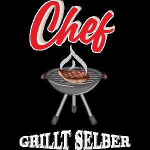 Chef grillt selber Grillmeister Grillexperte