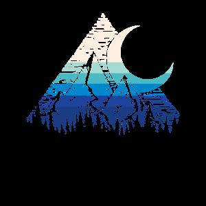 Retro Mond Geometrische Berg Kunst im Freien Liebh