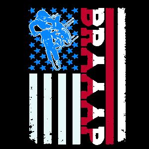 Braaap Vintage USA American Flag Dirt Bike Design