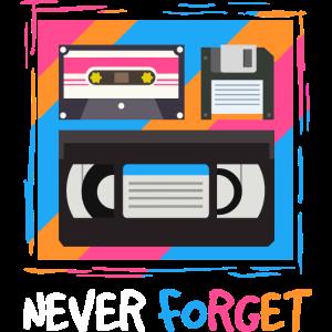 """Funny """"Never Forget"""" 1980s Retro T-Shirt for AV"""