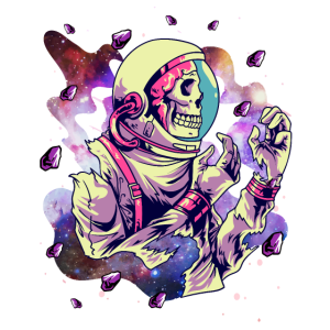Weltraumschädel Astronaut Skelett In Galaxy