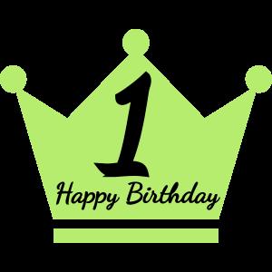 Happy Birthday 1. Geburtstag Krone