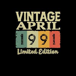 Vintage Retro 30. Geburtstag Geschenk April 1991