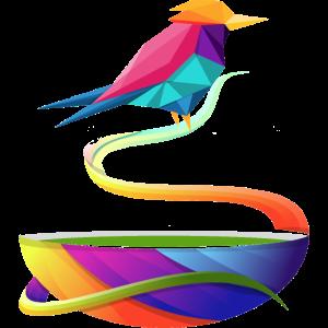 Polygonal Tier farbenfroh geometrie hand birne