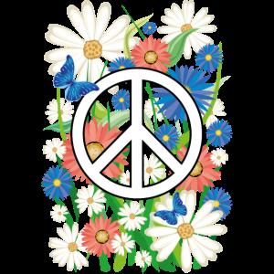 03 Flower Power Peace Blumen Schmetterlinge
