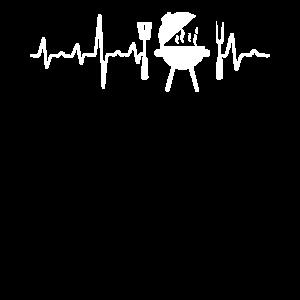 Grillen Herzschlag Grillparty Grillmeister EKG