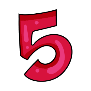 Ziffer 5 Zahl Rot