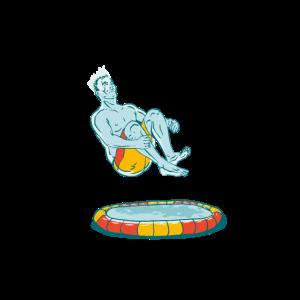 Pool Bombe Mann der in den Pool springt