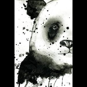 Panda-Aquarell mit Farbspritzer
