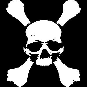 Totenkopf auf dicken Knochen