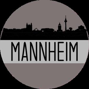 mannheim, skyline, kreis, scherenschnitt, beige