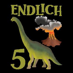 5 Jahre alt Geburtstag Junge Dino Vulkan Geschenk
