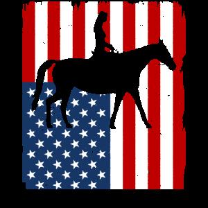 Reiten Reiterin Pferd Amerika Flagge Geschenk