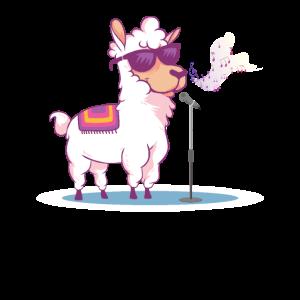 Singendes Lama auf der Bühne für Lama Liebhaber