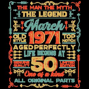 Mens 50th Birthday Gifts Feb-Dec 1971 Graphic , 50