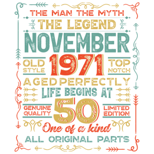 Mens 50th Birthday Gifts Feb-Dec 1971 Graphic