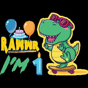 1 Geburtstag Dinosaurier Junge Dino