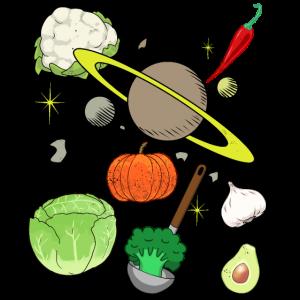 Umlaufbahn Universum Vegan Gemüse Küche kochen