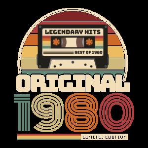Retro Vintage Kassette Geburtstag Jahrgang 1980