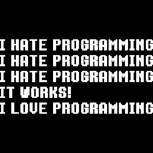 Ich hasse Programmierung Es funktioniert ich Liebe Programmierung