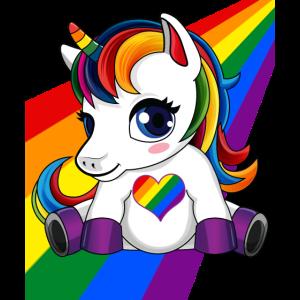 Einhorn mit LGBTQ Farbe Herz - LGBTQ Pride