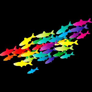 bunter Fisch Schwarm in leuchtenden Farben