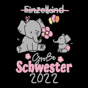 Große Schwester 2022 Elefanten Design für Mädchen