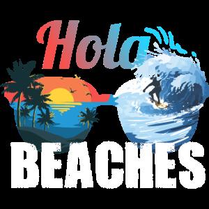 Lustige Sonnenbrille Hola Beaches Sommer-Zitat