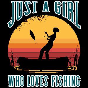 Nur ein Mädchen/Frau das es liegt zu angeln