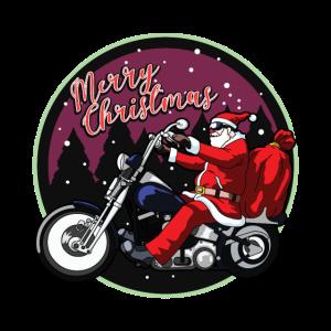 Weihnachtsmann auf Motorrad Frohe Weihnachten Geschenk